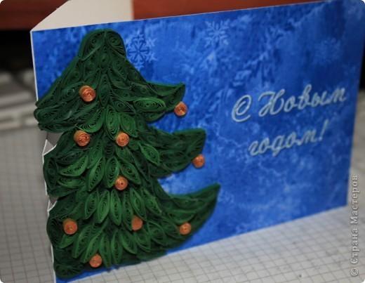"""Новогодний квиллинг. Новогодняя открытка """"Елка"""" фото 1"""