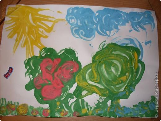 Решили с детишками немного порисовать,но не красками а жидким тестом.И вот что получилось,использовали,ложки,зубочистки и кисточки. фото 4