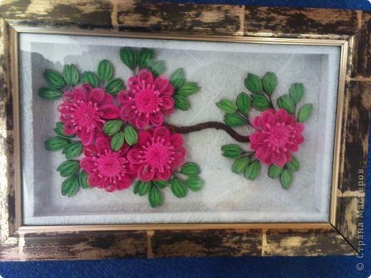 так как моя работа веточка http://stranamasterov.ru/node/87229 была подаренна ещё в августе на 20летие одной знакомой))) решила изменить цветочки и повторить работу для себя (надеюсь эта проживёт у меня дольше)))) фото 2