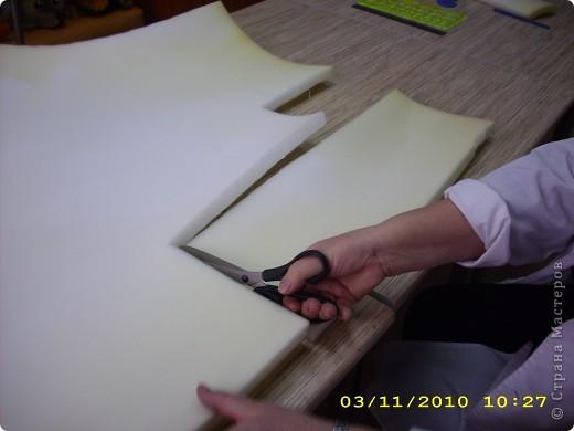 Шапочка: из поролона вырезаем прямоугольник длина которого соответствует размеру головы (54см.), а высота 16-20см. фото 1