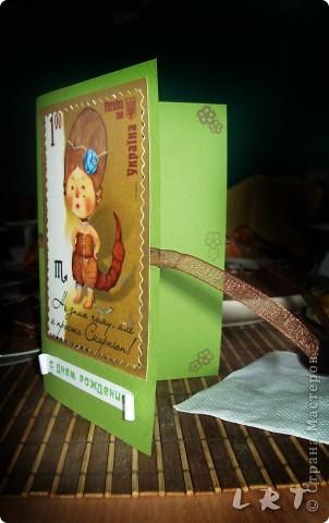 Такая вот открыточка для 16-ти летней девочки:)  Очень уж картинка понравилась - украинская марка со знаком зодиака Скорпион) И штампик цветочком очень в тему оказался) фото 1