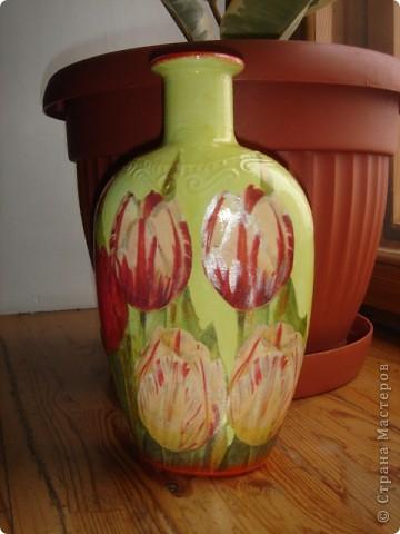 вот такая вазочка получилась из коньячной тары:) фото 2