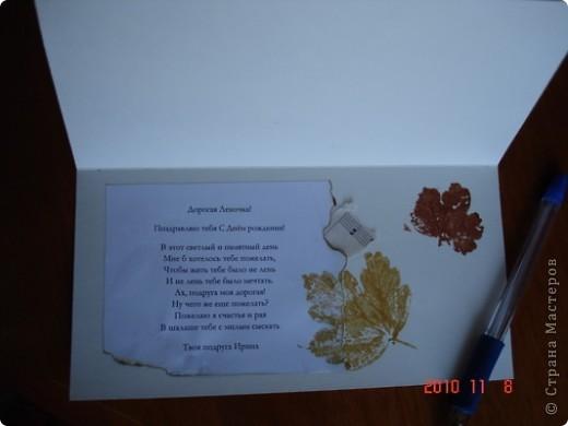 Открытка выполнена в стиле штамповки из свежих листов. Это я таким образом поздравила свою подругу. фото 2