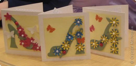 """Сегодня, я первоклассникам предложила сделать открытку к Дню матери. Идея возникла после того, как я набрала в поисковике картинок, волшебное словосочетание """"цветочная туфелька"""".... Источник вдохновения колосальный!!!!! фото 4"""