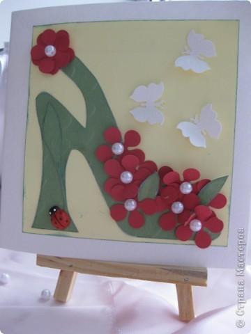 """Сегодня, я первоклассникам предложила сделать открытку к Дню матери. Идея возникла после того, как я набрала в поисковике картинок, волшебное словосочетание """"цветочная туфелька"""".... Источник вдохновения колосальный!!!!! фото 1"""