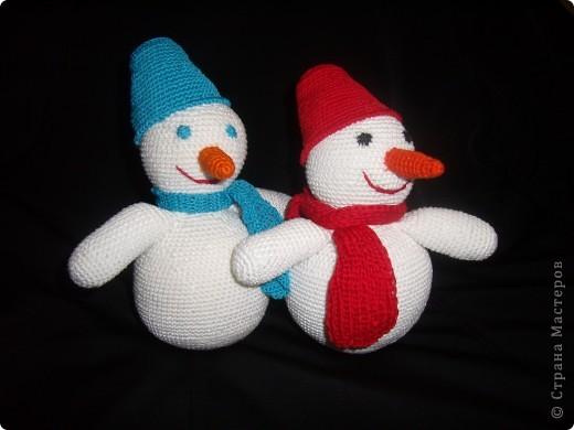 """Снеговик """"Прошка"""" )) Связала вечером, а утром снег выпал))  фото 3"""