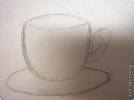 Моё кофейное настроение. Основа может использоваться  для самых разных поделок! А вот моё применение.     Вам понадобится:лист плотной бумаги или картона, бумажные полотенца или салфетки, белая тонкая бумага для принтера или распечатка чашки и блюдца, кофейные зёрна, гуашь, жёсткая кисточка, вода. фото 6