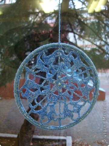 Снежинка, круглая основа - браслет. фото 4