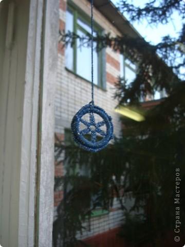 Снежинка, круглая основа - браслет. фото 5