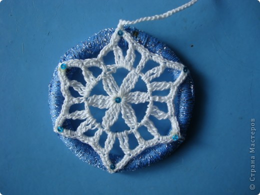 Снежинка, круглая основа - браслет. фото 1