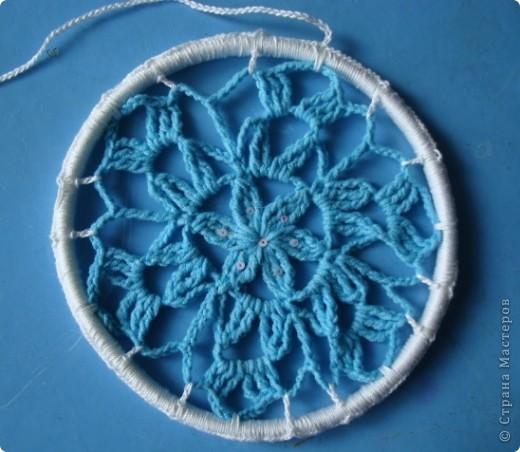 Снежинка, круглая основа - браслет. фото 2