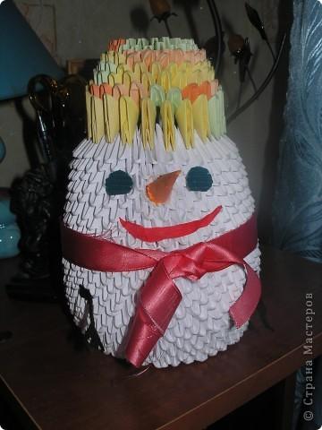 Снеговик. Моя первая работа в модульном оригами.