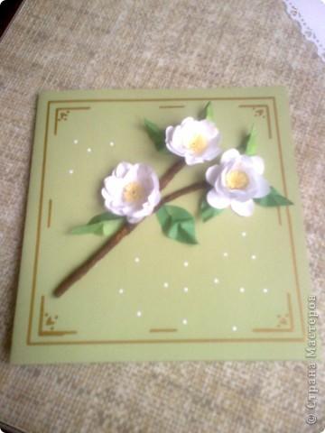 Вот такую открытку мы сделали с Юляшей на скорую руку.  Веточку у вишни выполнила Юля из туалетной бумаги, и раскрасила акварелью. фото 2