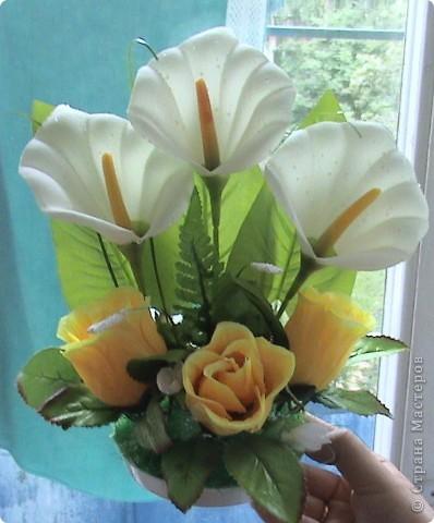 Композиции из кал, васильков, гербер, маков, роз..... фото 1