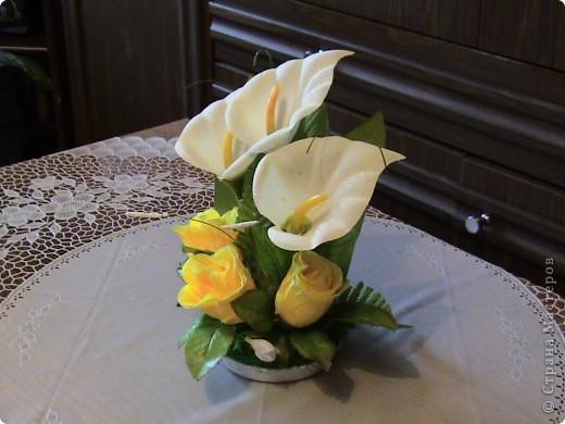 Композиции из кал, васильков, гербер, маков, роз..... фото 3