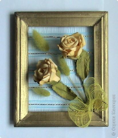 Несколько панно из роз и свеча с розами фото 5