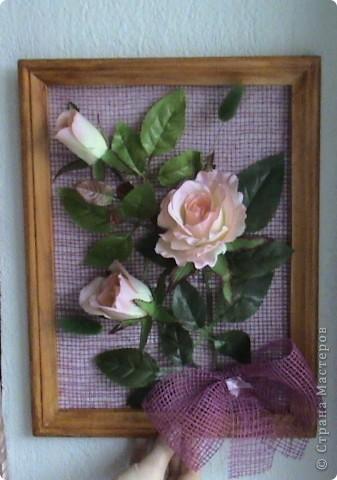 Несколько панно из роз и свеча с розами фото 3
