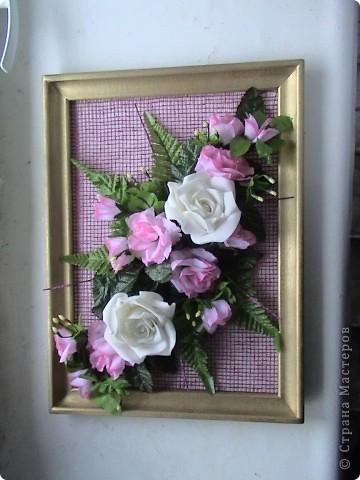 Несколько панно из роз и свеча с розами фото 2