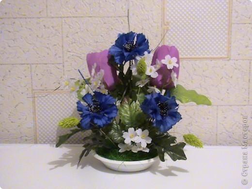 Композиции из кал, васильков, гербер, маков, роз..... фото 4