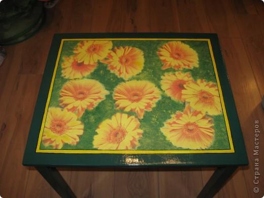 Это детский столик из IKEA.  Захотелось как-то сделать его повеселей. Вот что из этого получилось. Покрашен пока одним слоем лака. Надо еще пару-тройку раз пройтись. Решила поделиться результатом. Мне очень нравится!! фото 1