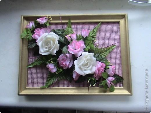Несколько панно из роз и свеча с розами фото 1