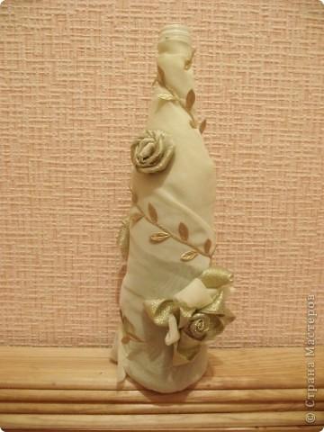Оформление бутылки тканью