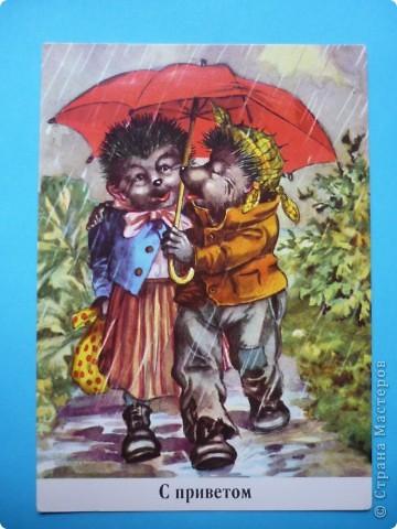 В моей коллекции старых открыток нашлись ёжики. Хочу поделиться картинками, может кому-то пригодятся идеи для солёного теста, фелтинга или кукол (и т. д.) фото 4