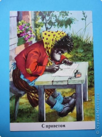 В моей коллекции старых открыток нашлись ёжики. Хочу поделиться картинками, может кому-то пригодятся идеи для солёного теста, фелтинга или кукол (и т. д.) фото 7