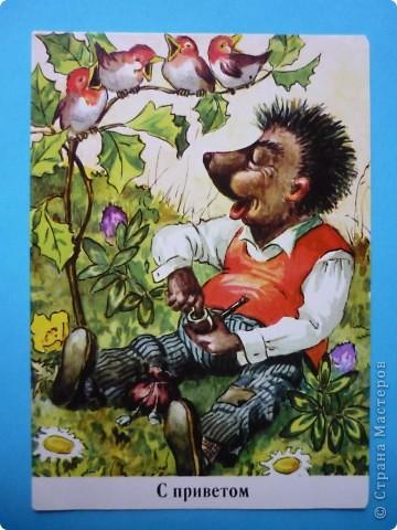 В моей коллекции старых открыток нашлись ёжики. Хочу поделиться картинками, может кому-то пригодятся идеи для солёного теста, фелтинга или кукол (и т. д.) фото 8