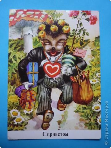 В моей коллекции старых открыток нашлись ёжики. Хочу поделиться картинками, может кому-то пригодятся идеи для солёного теста, фелтинга или кукол (и т. д.) фото 9