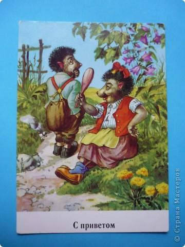 В моей коллекции старых открыток нашлись ёжики. Хочу поделиться картинками, может кому-то пригодятся идеи для солёного теста, фелтинга или кукол (и т. д.) фото 10