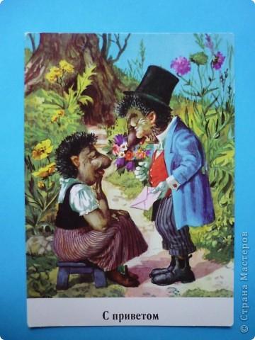 В моей коллекции старых открыток нашлись ёжики. Хочу поделиться картинками, может кому-то пригодятся идеи для солёного теста, фелтинга или кукол (и т. д.) фото 11