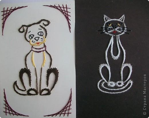 Открытка Изонить Пес и кот