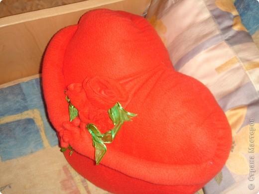 пыталась сфотографировать подушку 3дня,она упорно получается с рыжим отливом,на самом деле флис приятного не ядовитого красного цвета фото 3