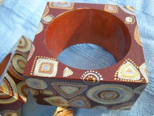 Браслеты деревянные, роспись акрилом, лак фото 3