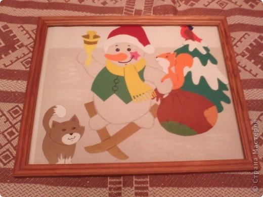 Снеговик с мешком подарков фото 1