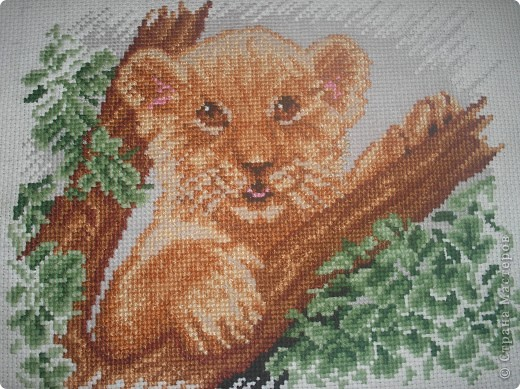 Львенок-моя вторая вышивка фото 1