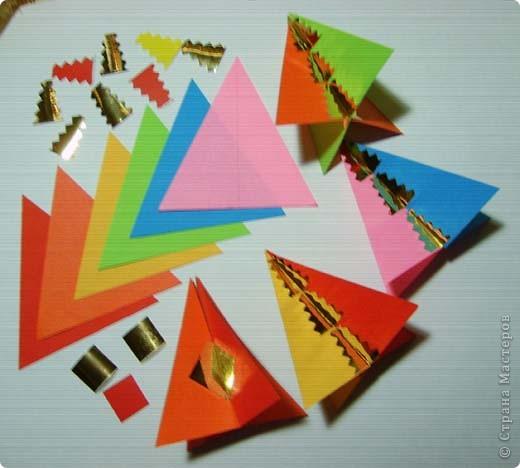Наипростейшие игрушки на ёлку из бумаги - подвески. Основа - равнобедренный треугольник. Для изготовления одной подвески  используем 2-3 треугольника.Можно и больше...  фото 1