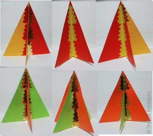 Наипростейшие игрушки на ёлку из бумаги - подвески. Основа - равнобедренный треугольник. Для изготовления одной подвески  используем 2-3 треугольника.Можно и больше...  фото 2