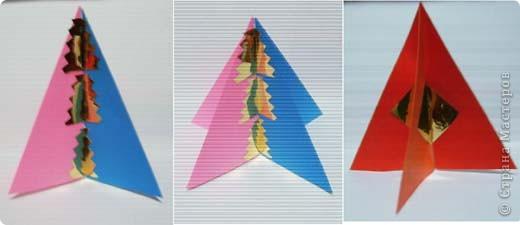 Наипростейшие игрушки на ёлку из бумаги - подвески. Основа - равнобедренный треугольник. Для изготовления одной подвески  используем 2-3 треугольника.Можно и больше...  фото 3