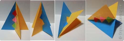 Наипростейшие игрушки на ёлку из бумаги - подвески. Основа - равнобедренный треугольник. Для изготовления одной подвески  используем 2-3 треугольника.Можно и больше...  фото 6