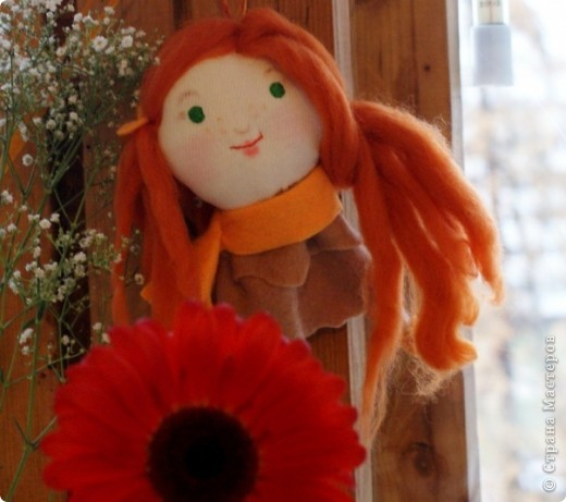 день рождения у подруги - в самом-самом конце осени, поэтому у меня получилась очень осенняя куколка: