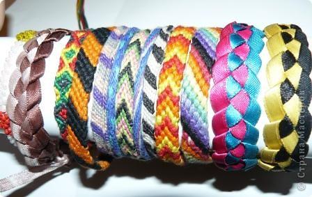 Мои фенечки.Плела из лент, из мулине, и из ириса - кумихимо. фото 1