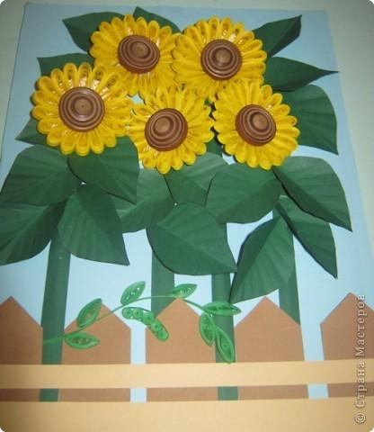 """Добрый день!!!! Разрешите представить вам работу, выполненную ученицами 6 """"В"""" класса, Юлей  Раднаевой  и Ульяной  Аюшиновой. Картина """"Подсолнушки"""" создана на основе композиции http://stranamasterov.ru/node/69235 Дорогая  Pastila! Спасибо за вдохновение!!!  фото 4"""
