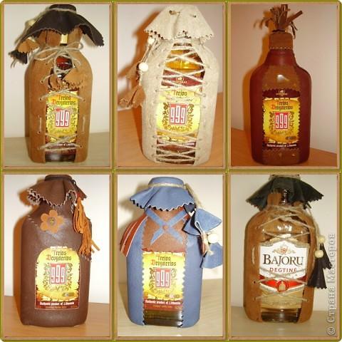 Декор бутылок .Натур. кожа фото 1