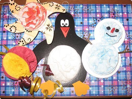 Технике распушения салфеток училась у Просняковой Татьяны Николаевны.Это - несколько моих новогодних игрушек, подготовленных для мастер-класса коллегам по работе. фото 1