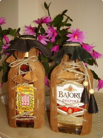 Декор бутылок .Натур. кожа фото 2