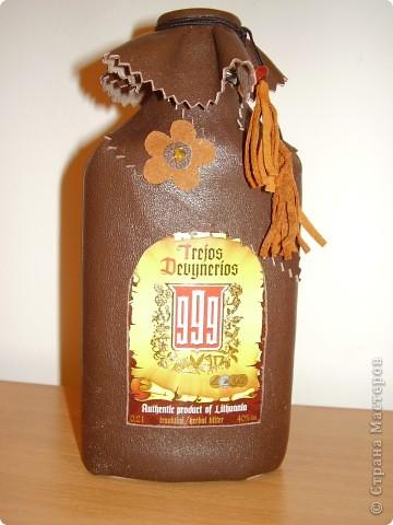 Декор бутылок .Натур. кожа фото 7