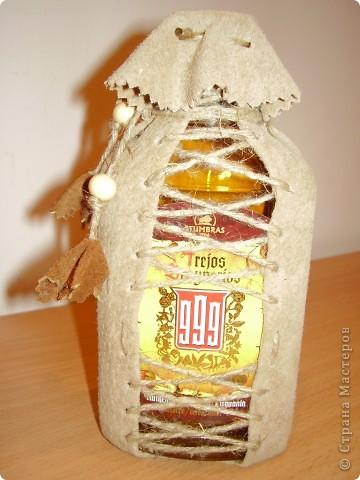 Декор бутылок .Натур. кожа фото 4