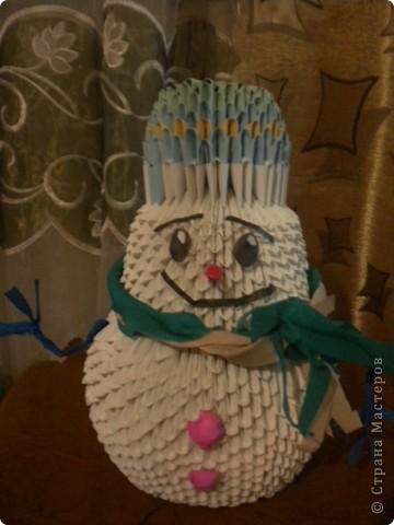 Снеговик из модулей.Наш первый.Спасибо за мастер классы.